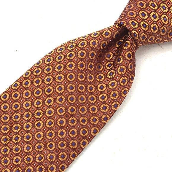 Canali Other - CANALI Macclesfield Tie Geometric Brown Gold Silk